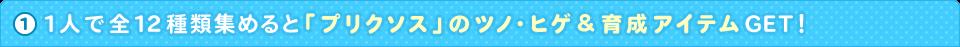 1人で全12種類集めると「プリクソス」のツノ・ヒゲ&育成アイテムGET!
